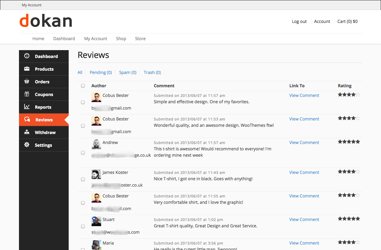 Dokan Manage product reviews